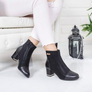 Botine Micasi negre cu toc gros foarte elegante si comode pentru femei