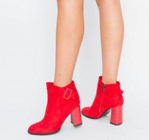 Botine Mirano Rosii cu toc elegante pentru femei
