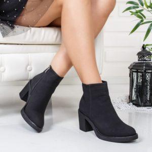 Botine Mirovi negre cu toc gros foarte elegante si comode pentru femei
