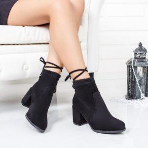 Botine Oremi negre cu toc gros foarte elegante si comode pentru femei