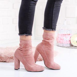 Botine Persefone roz cu toc foarte elegante si comode pentru femei