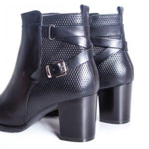 Botine Piele Damaris negre cu toc foarte elegante si comode pentru femei