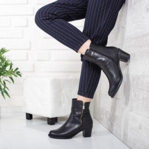 Botine Piele Mofin negre foarte elegante si comode pentru femei