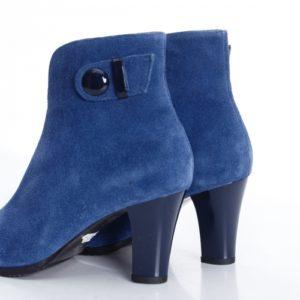 Botine Piele Romancia albastre cu toc foarte elegante si comode pentru femei
