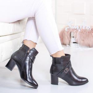 Botine Rimesi negre cu toc gros foarte elegante si comode pentru femei