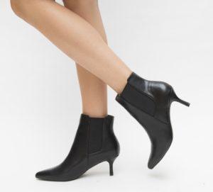 Botine Seconda Negre cu toc elegante pentru femei