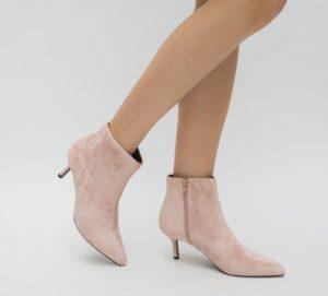 Botine Seconda Roz cu toc elegante pentru femei