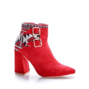 Botine Sedy rosii cu toc gros foarte elegante si comode pentru femei