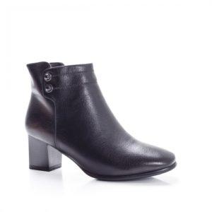 Botine negre ieftine si elegante de ocazie cu toc mic de 5cm si varful usor ascutit foarte comode la purtare Sidemo