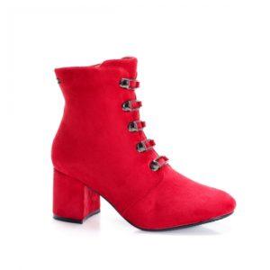 Botine Sloss rosii cu toc foarte elegante si comode pentru femei