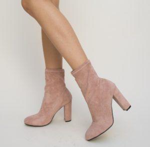 Botine Smeral Roz cu toc elegante pentru femei