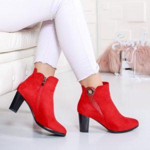 Botine Soltimo rosii cu toc elegante foarte elegante si comode pentru femei