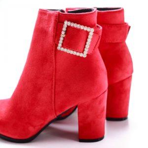 Botine Teatino rosii cu toc foarte elegante si comode pentru femei