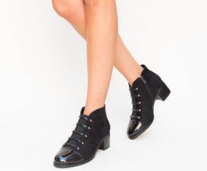 Botine Tenesis Negre cu toc elegante pentru femei