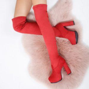 Cizme Caponi rosii lungi ieftine pentru dama