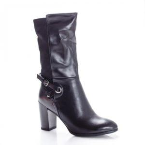 Cizme negre cu toc elegante de ocazie pentru iarna din piele eco imblanite pe interior Caridoli