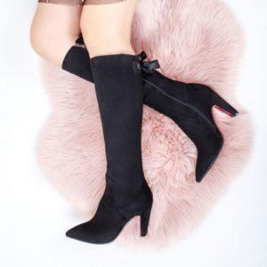 Cizme stiletto negre cu fundita foarte elegante si inalte pana la genunchi Halomi