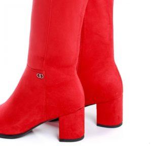 Cizme Kehlani rosii cu toc ieftine pentru dama