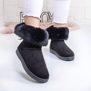 Cizme Pufami negre de iarna ieftine pentru dama