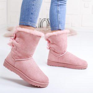 Cizme Pufami roz imblanite ieftine pentru dama