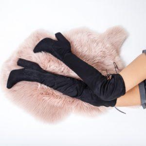 Cizme cu toc inalt elegante negre lungi pana peste genunchi ideale pentru tinute de ocazie feminine si cochete Rexa