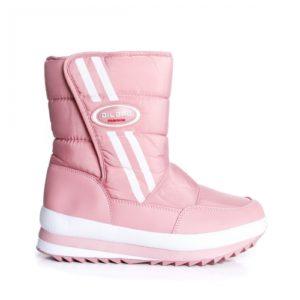 Cizme roz de zapada pentru iarna imblanite pe interior si prevazute cu talpa groasa antiaderenta Unali