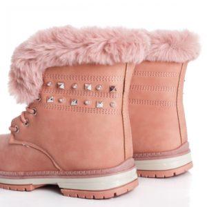 Ghete de iarna la pret mic cu blanita exterioara si tinte decorative Genoa roz imblanite