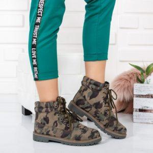 Ghete Wannaska verde camuflaj ieftine pentru femei