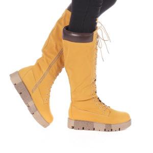 Cizme de dama ieftine camel  Georgina inalte si calduroase cu platforma pentru tinute sport