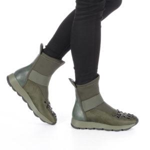 Cizme dama scurte sport fara toc Ianina verzi cu incaltare rapida prin tragere pe picior