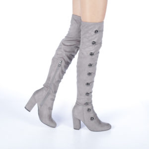 Cizme dama elegante peste genunchi Olaria gri cu toc gros si inalt de 9cm decorate cu elemente metalice