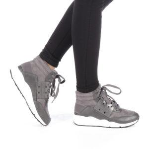 Ghete dama fara toc din piele ecologica in stil pantofi sport Linoa gri